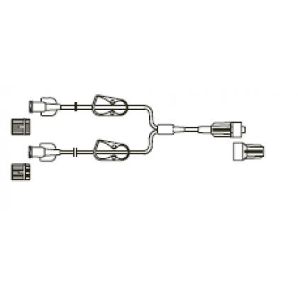 Item# LS685 Bifurcated LightSafe® MicroBore Extension Set, (2) female luer-locks, (2) color coded pinch clamps, male luer-lock, CODAN FlowStop Cap™ 50/CS